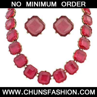 Red Transparent Square Shape Jewelry Set