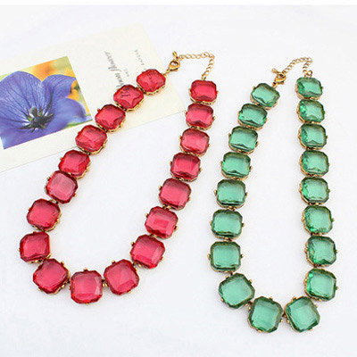 Green Transparent Square Shape Jewelry Set