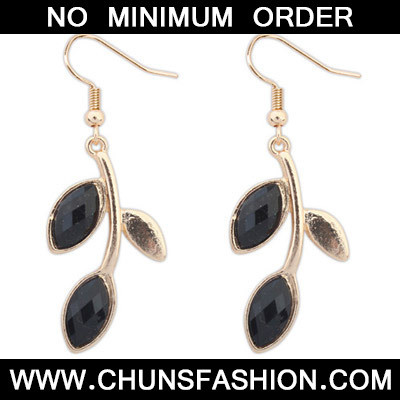Black Leaf Shape Earring