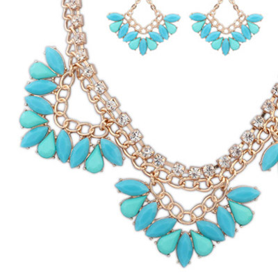 Blue Triangle Shape Jewelry Set