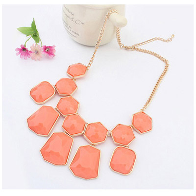 Watermelon Red Geometrical Shape Jewelry Set