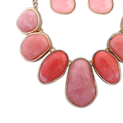 Plum Red Geometrical Shape Jewelry Set