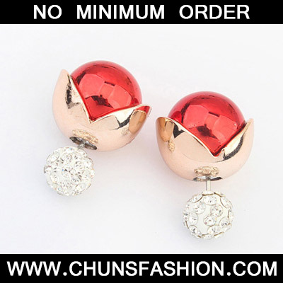 Red Diamond Stud Earring