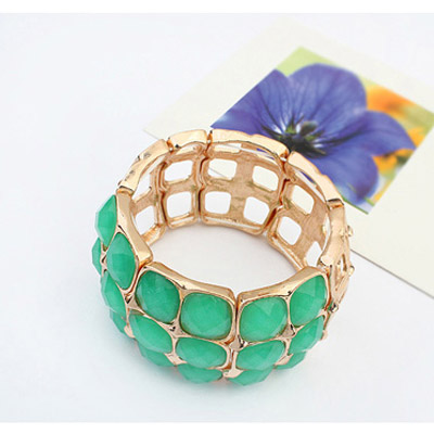 Green Square Multilayer Bangle