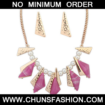 Purple Red Geometrical Shape Jewelry Set