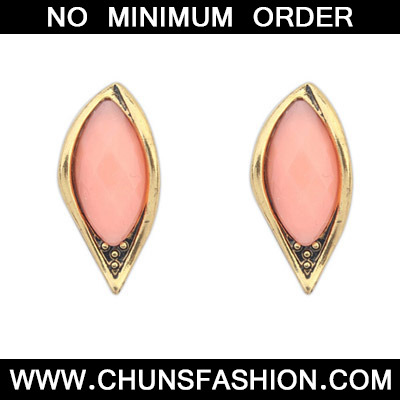 Pink Leaf Shape Stud Earring