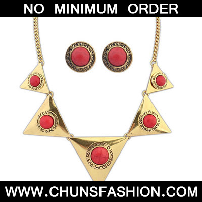 Red Triangle Shape Jewelry Set