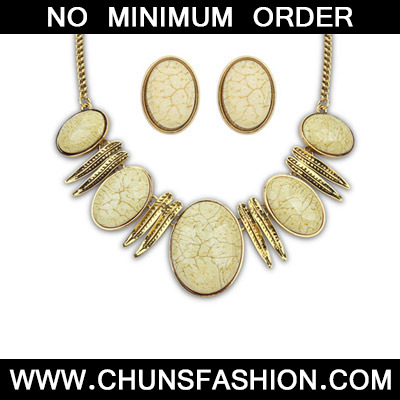 Beige Oval Shape Jewelry Set