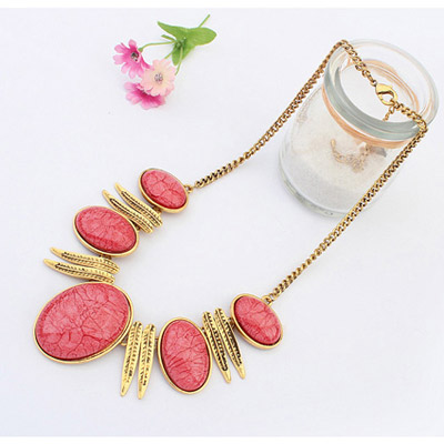 Hop Red Oval Shape Jewelry Set