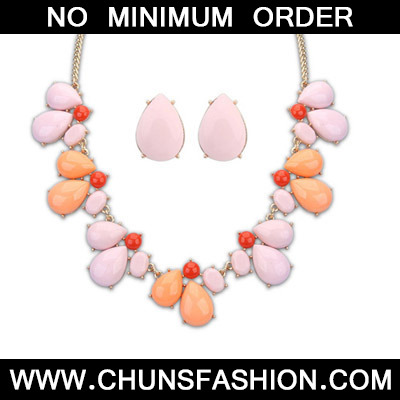 Pink Waterdrop Shape Jewelry Set