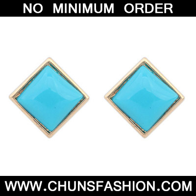 Blue Candy Sqaure Shape Stud Earring