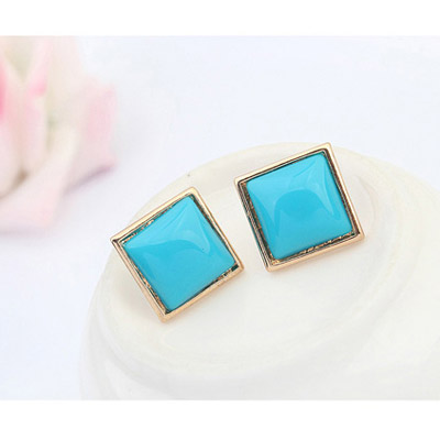 Blue Candy Sqaure Shape Stud Earring - Click Image to Close
