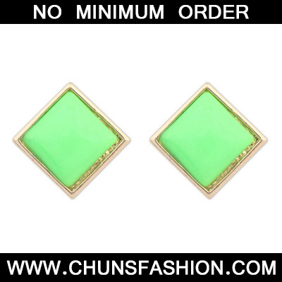 Green Candy Sqaure Shape Stud Earring