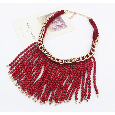 Red Beads Weave Tassel Necklace