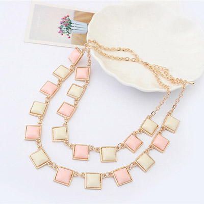 Pink & Beige Sqaure Shape Jewelry Set