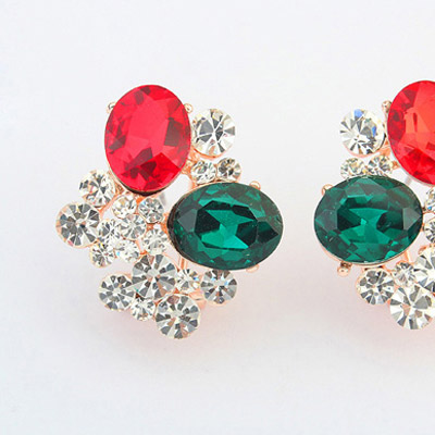 Red & Green Diamond Oval Shape