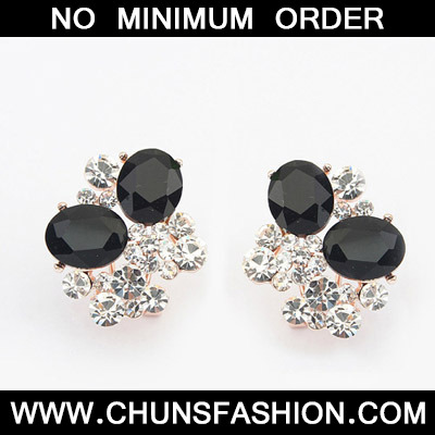 Black Diamond Oval Shape Stud Earring