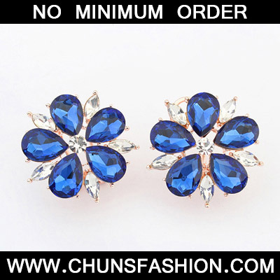 Blue Diamond Flower Stud Earring