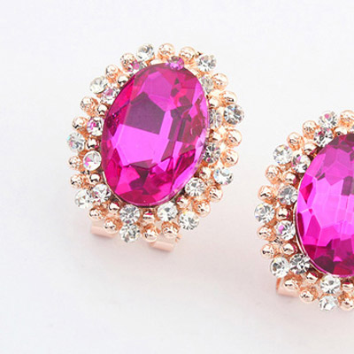 Purple Red Diamond Oval Shape Stud Earring
