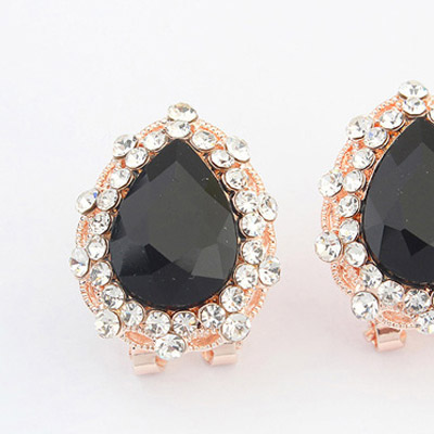Black Diamond Waterdrop Shape Stud Earring