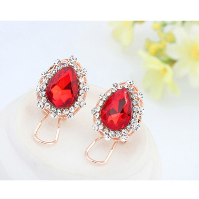 Padparadscha Diamond Waterdrop Shape Stud Earring