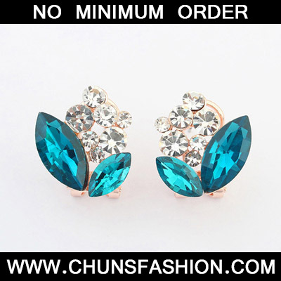 Navy Blue Diamond Geometrical Shape Stud Earring