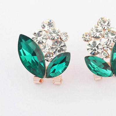 Green Diamond Geometrical Shape Stud Earring