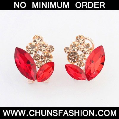 Padparadscha Diamond Geometrical Shape Stud Earring