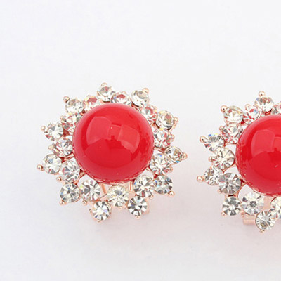 Red Diamond Flower Stud Earring