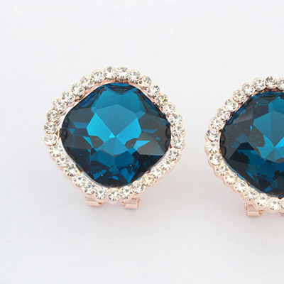Blue Diamond Square Shape Stud Earring - Click Image to Close