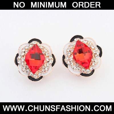 Padparadscha Flower Stud Earring