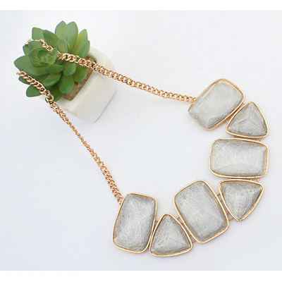 White Geometrical Shape Necklace