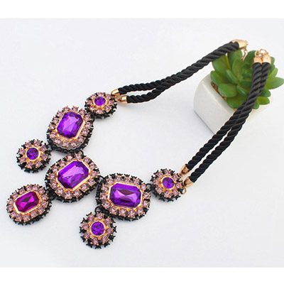 Purple Diamond Oval Shape Necklace