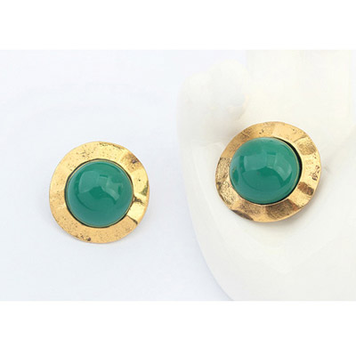 Green Round Shape Stud Earring