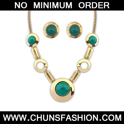 Green Round Shape Jewelry Set