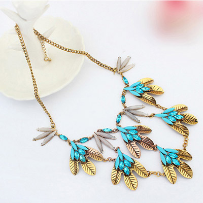 Blue Leaf Shape Necklace