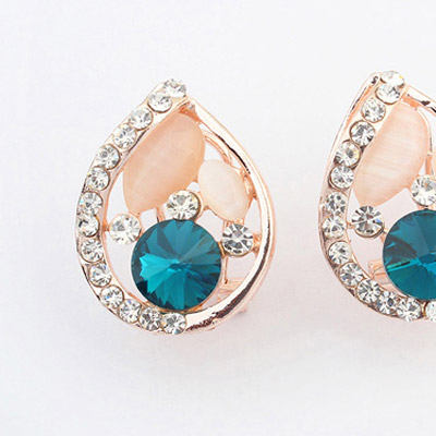 Blue Diamond Waterdrop Shape Stud Earring