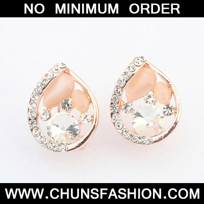 White Diamond Waterdrop Shape Stud Earring