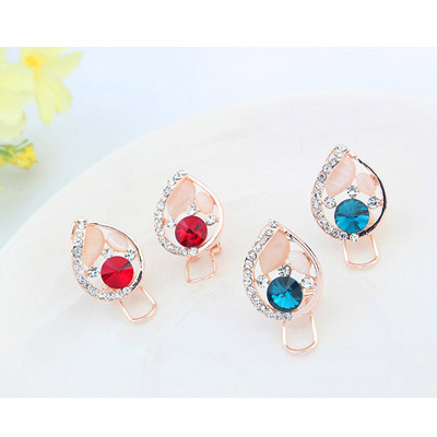 Red Diamond Waterdrop Shape Stud Earring