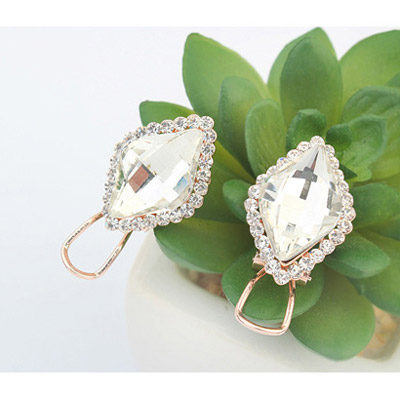 White Diamond Rhombus Shape Stud Earring
