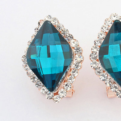 Blue Diamond Rhombus Shape Stud Earring