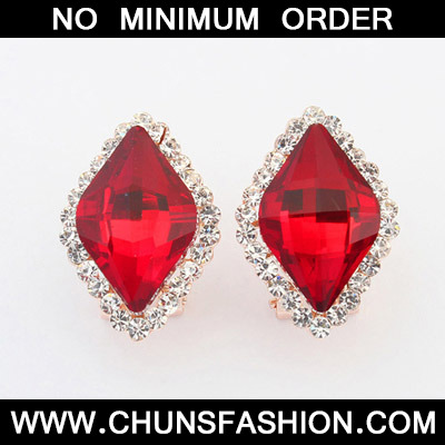 Red Diamond Rhombus Shape Stud Earring