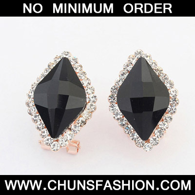 Black Diamond Rhombus Shape Stud Earring