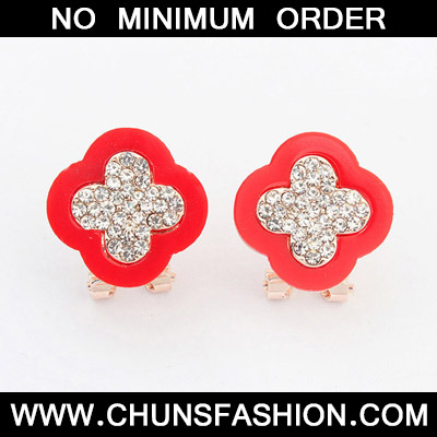 Red Diamond Clover Shape Stud Earring