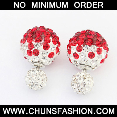 Red Diamond Round Shape Stud Earring
