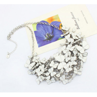 White Butterfly Shape Multilayer Necklace