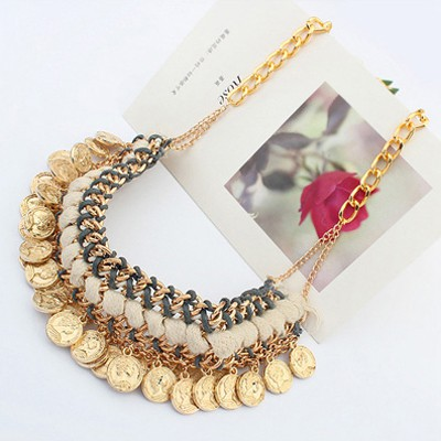Ancient Gold Coins Shape Weave Necklace