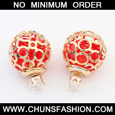 Red Round Shape Hollow Out Jewelry Set