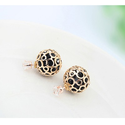 Black Round Shape Hollow Out Earring
