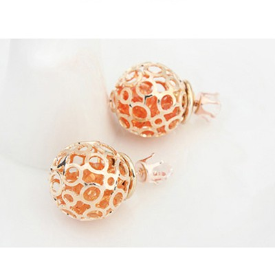 Orange Round Shape Hollow Out Earring